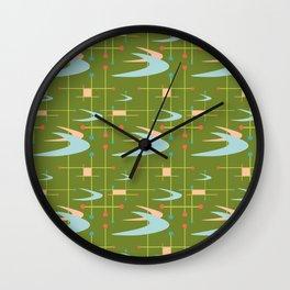 Mid Century Modern Boomerangs on Lime Green Wall Clock