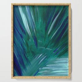 Blue Ice Caverns Abstract Painting Serving Tray