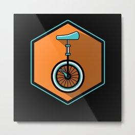 Monocycle Unicycle Circuit extreme Cyclist Artist Metal Print