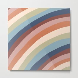 Muted Arched Rainbow Pride Flag Pattern Metal Print