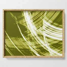 Reflective fibers of metallic yellow stripes with bright glow elements.  Serving Tray