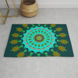Turtle Pond Mandala Design Rug