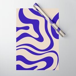 Modern Liquid Swirl Abstract Pattern Square in Indigo Blue Wrapping Paper