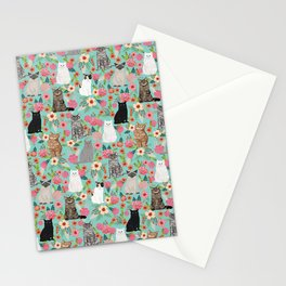 Cats floral mixed breed cat art cute gifts for cat ladies cat lovers pet art Stationery Cards