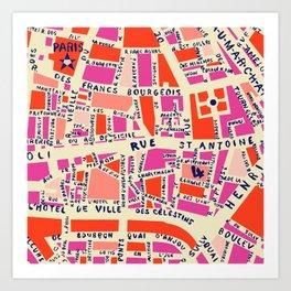 paris map pink Kunstdrucke