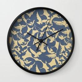 Vintage Flying Birds in Blue Wall Clock