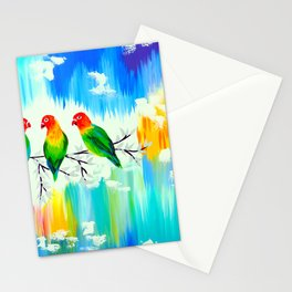 Lovebirds on a branch Stationery Cards