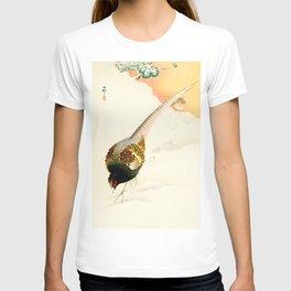 Pheasants in the snow  - Vintage Japanese Woodblock Print Art T-shirt