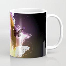 Night Butterflies Whirlwind | Glowing Butterfly Flight Vortex | Purple and Gold Coffee Mug