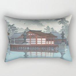 Miyajima On A Misty Day Vintage Japanese Woodblock Print Art By Hasui Kawase Rectangular Pillow