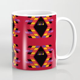 Maya / Aztec handdrawn  Folk Summer vintage pattern RED BLACK Coffee Mug