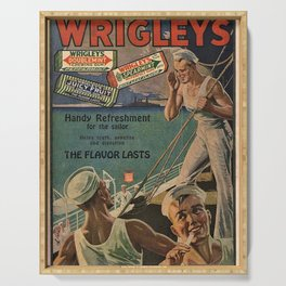 Vintage 1918 Wrigley's Chewing Gum Advertisement with sailors Serving Tray
