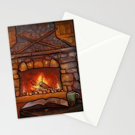 Fireplace (Winter Warming Image) Stationery Cards