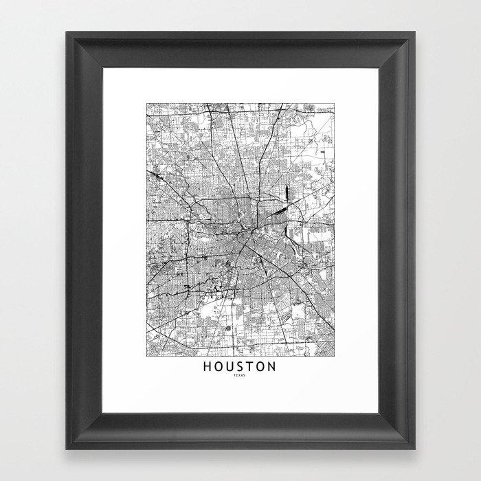 Houston White Map Gerahmter Kunstdruck