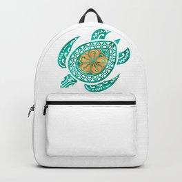 Maui Plumeria Watercolor Turtle Backpack