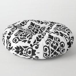 Prima Damask Pattern Black on White Floor Pillow