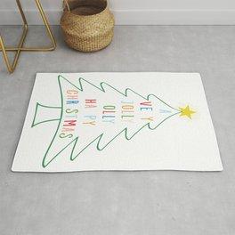 A Very Jolly Holly Happy Christmas Xmas Tree design Rug