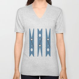 Clothespin navy Unisex V-Neck