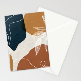 Leafy Lane in Navy and Tan 2 Stationery Cards