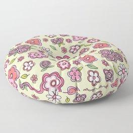 Whimsical Spring Flowers Floor Pillow