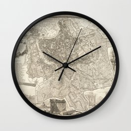 Vintage Map Print - 1748 map of Rome Wall Clock