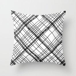 Scribble plaid: fun plaid pattern print Throw Pillow
