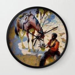 """William Leigh Western Art """"One Good Turn"""" Wall Clock"""