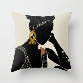 Black Hair No. 6 Throw Pillow