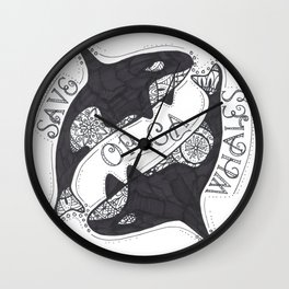 Save The Orcas (50% of commission is donated to the World Wildlife Fund) Wall Clock