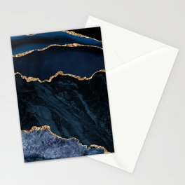 Beautiful Sapphire And Gold Marble Design Stationery Cards