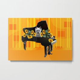 Piano with sunflowers and white Fox Terrier Metal Print