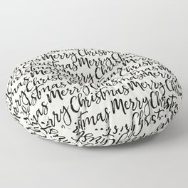 Merry Merry Christmas Xmas Typography Pattern in Black and Almond Cream Floor Pillow