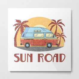Sun Road  TShirt Vintage Caravan Shirt Travel Road Gift Idea Metal Print