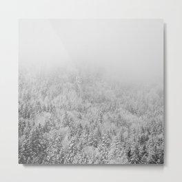 black and white mountain woodland print Metal Print