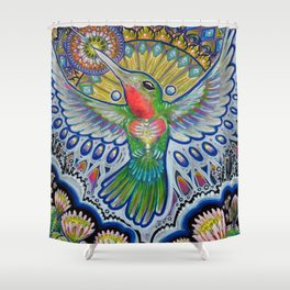 Hummingbird & Cactus - Beija Flor III Shower Curtain
