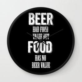 Beer had food value but Food has no beer value Wall Clock