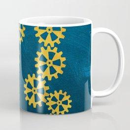 Cool steampunk gears on a blue background Coffee Mug