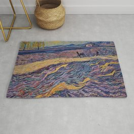 Enclosed Lavender Field with Ploughman by Vincent van Gogh Rug