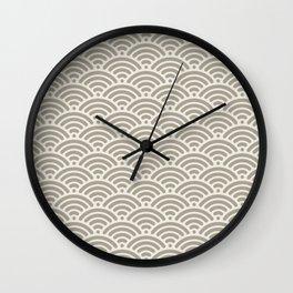 Gray Grey Alabaster Seigaiha Sea Wave Nautical Minimalist Wall Clock