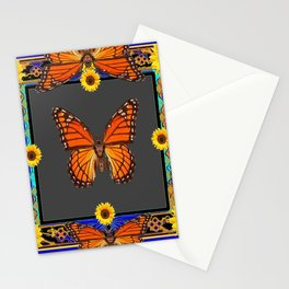 Orange Monarch Butterflies Yellow Sunflowers Blue Patterns Art Stationery Cards
