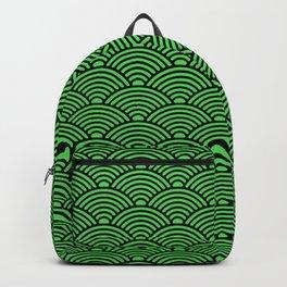 Japanese Waves (Black & Green Pattern) Backpack