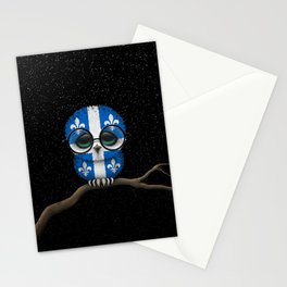 Baby Owl with Glasses and Quebec Flag Stationery Cards