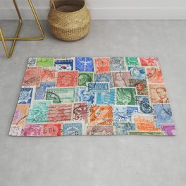 Vintage stamps mail of the different countries. Rug