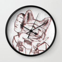 Kitsune Portrait Wall Clock