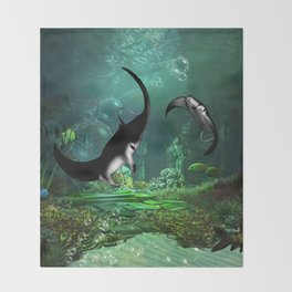 Wonderful manta rays in the deep ocean Throw Blanket