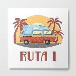 Ruta 1  TShirt Vintage Caravan Shirt Travel Road Gift Idea Metal Print