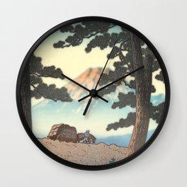 Mt.Fuji between  pinetrees Wall Clock