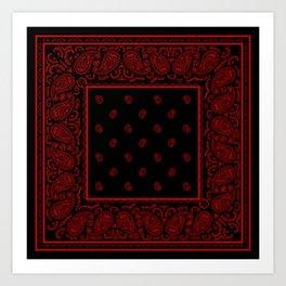 Classic Black and Red Bandana Art Print