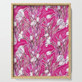 White Crocuses, Spring Flowers, Botanical Floral Pattern, Cerise Pink Serving Tray