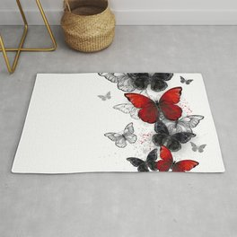 Flying Black and Red Morpho Butterflies Rug